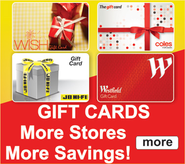 Gift Cards: SAVE $$ in every part of Australia!